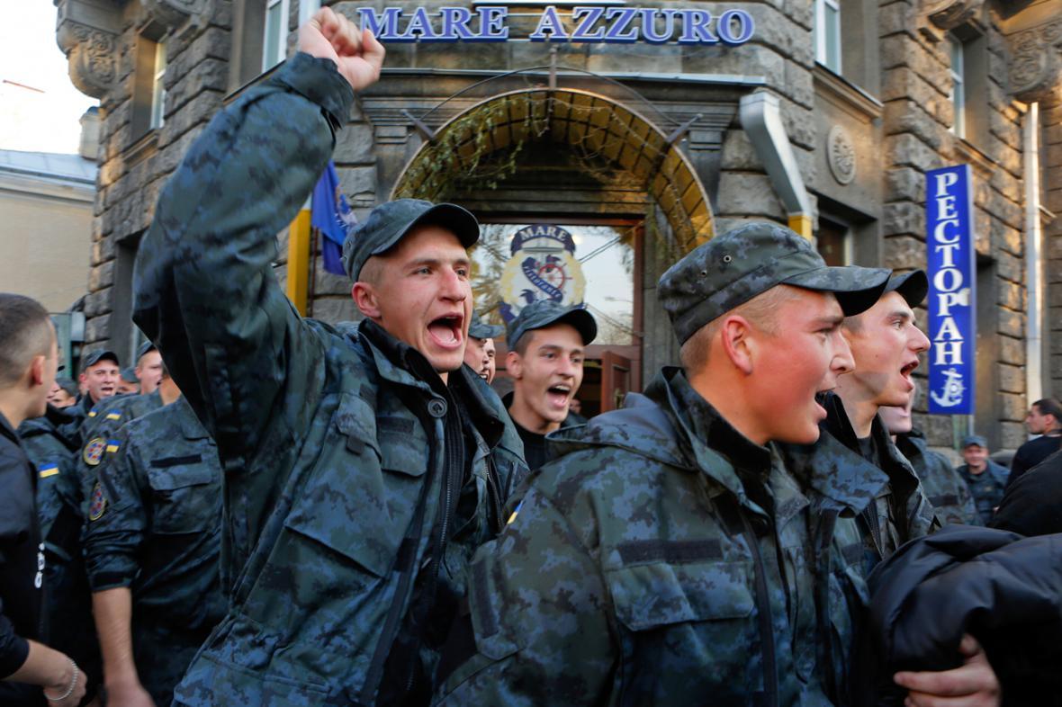 Protest ukrajinských členů Národní gardy