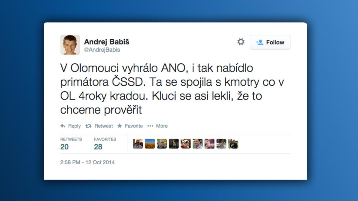 Tweet Andreje Babiše