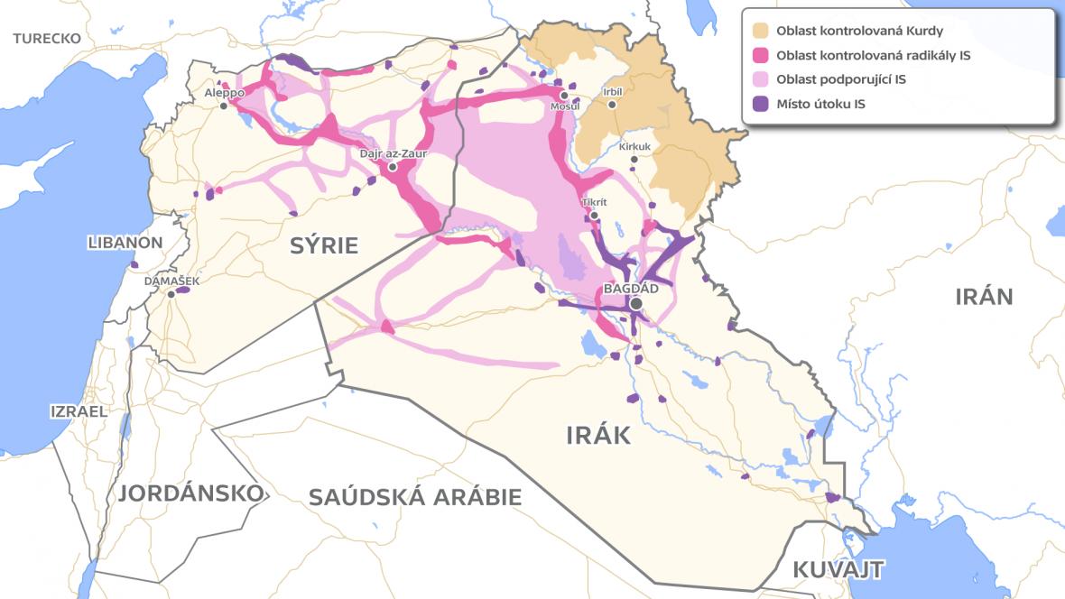 Mapa území ovládaného IS