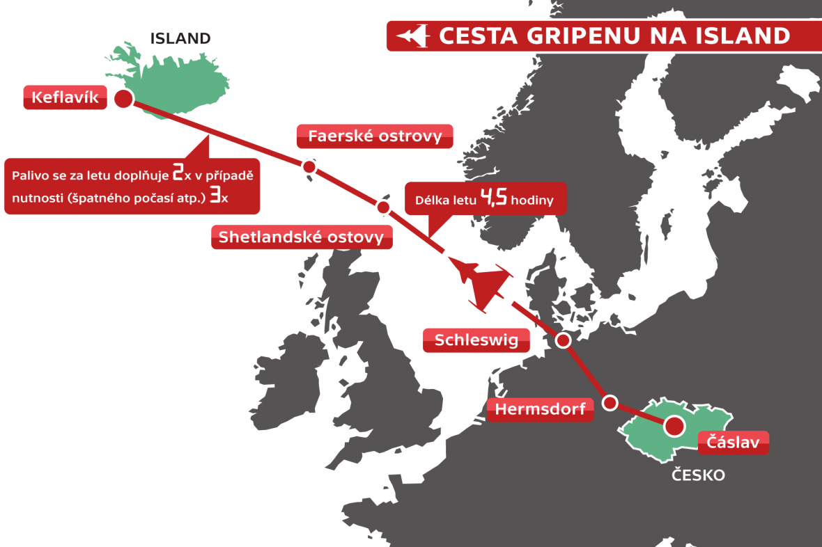 Cesta Gripenu na Island