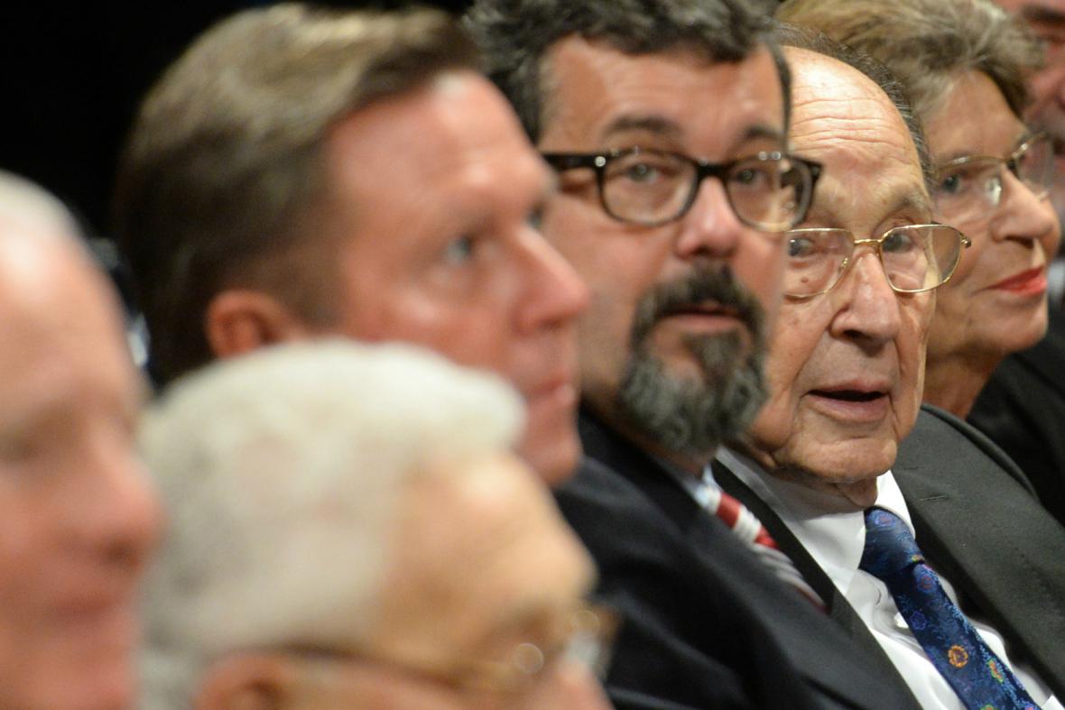 Bývalý německý ministr zahraničí Hans-Dietrich Genscher na akci v Lipsku