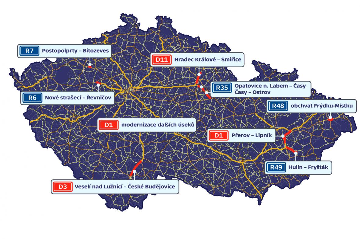 Nejvýznamnější nově plánované úseky silnic