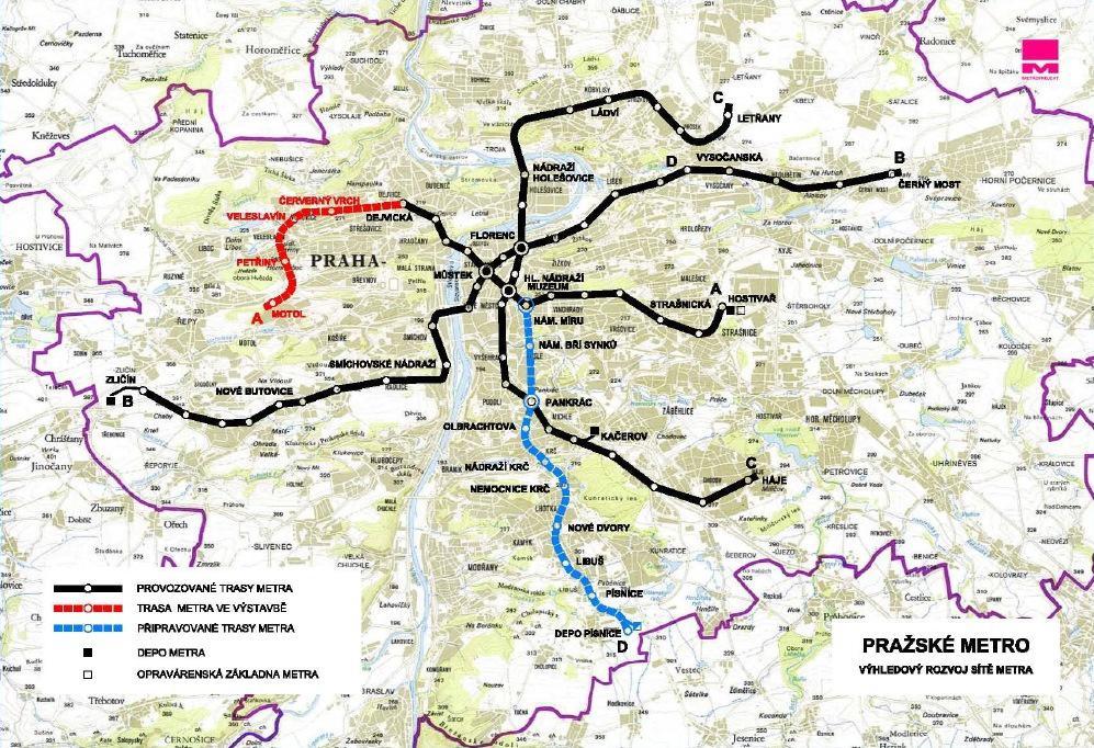 Výhledový rozvoj pražského metra