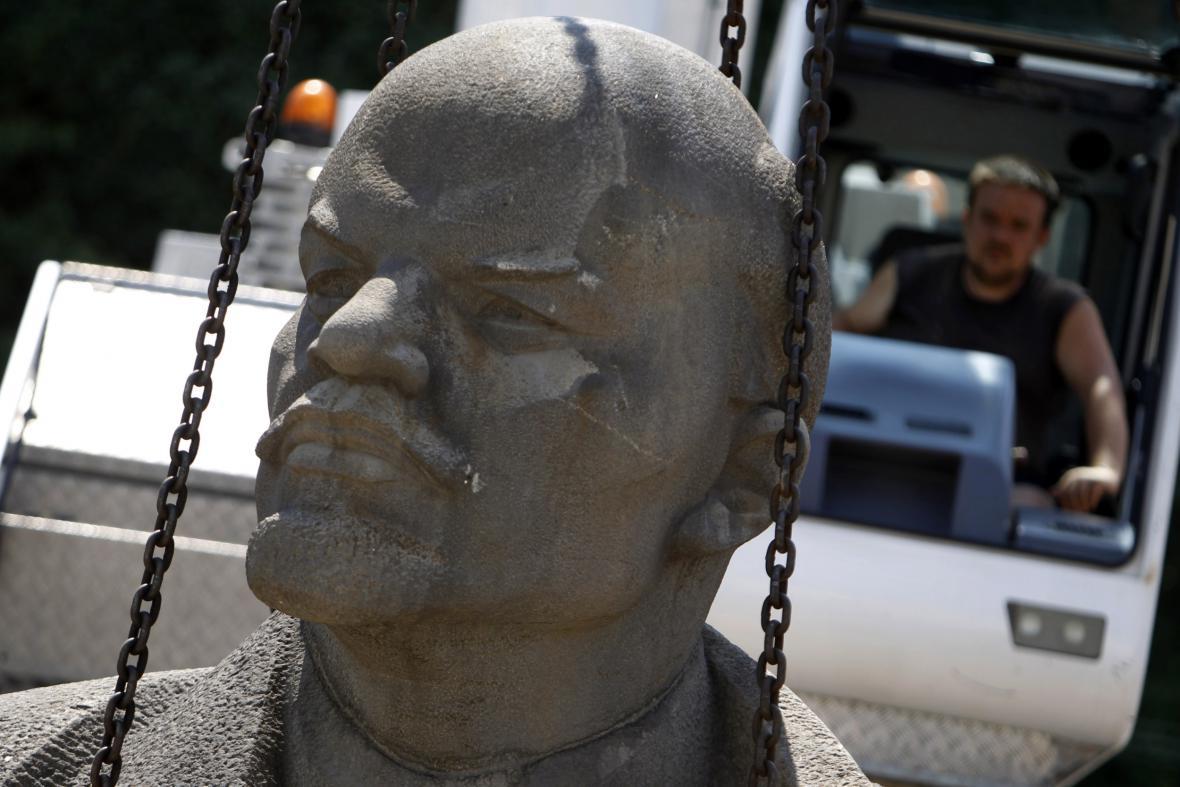 Leninova hlava v Sofijském muzeu totalitního umění