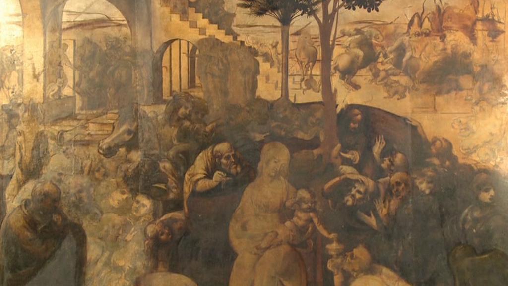 Klanění tří králů od Leonarda da Vinciho