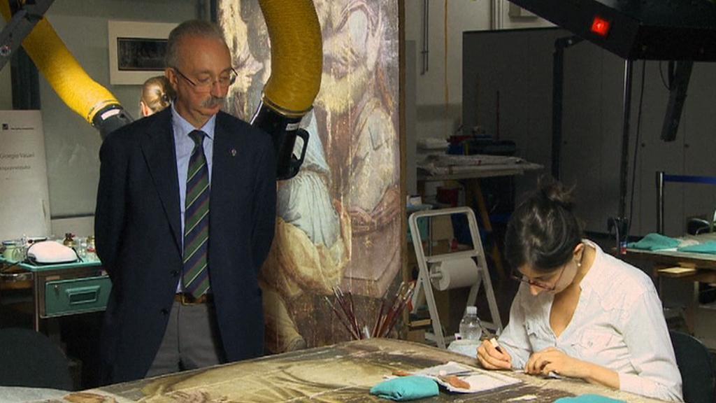 Restaurátorské práce na díle Leonarda da Vinciho