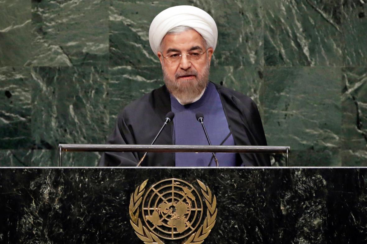 Hasan Rouhání při vystoupení na Valném shromáždění OSN