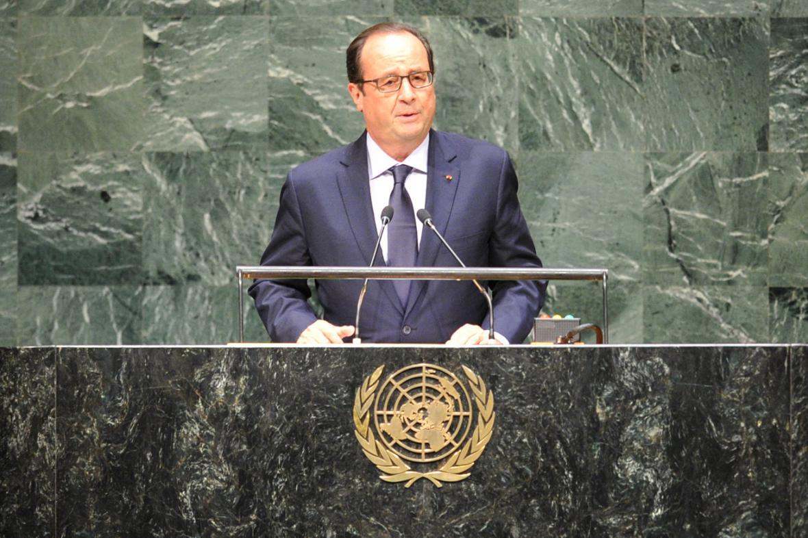 Francois Hollande při projevu na Valném shromáždění OSN