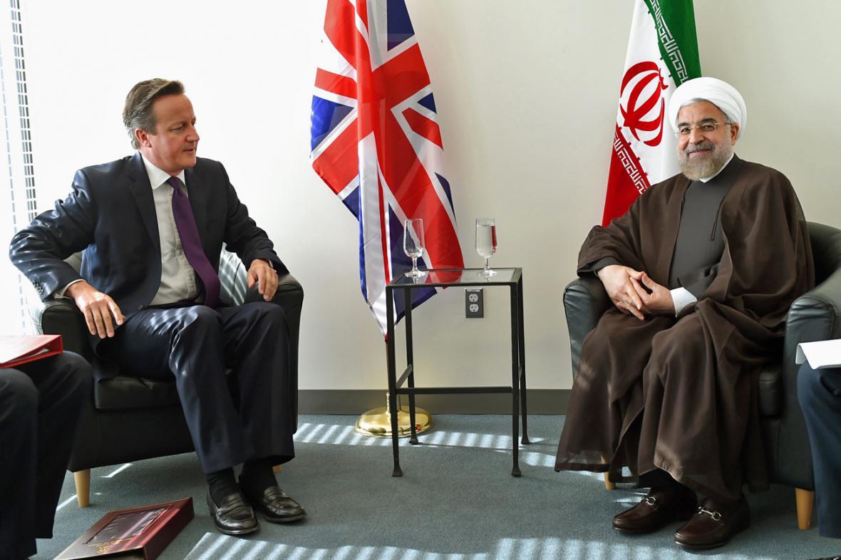 David Cameron a Hasan Rouhání