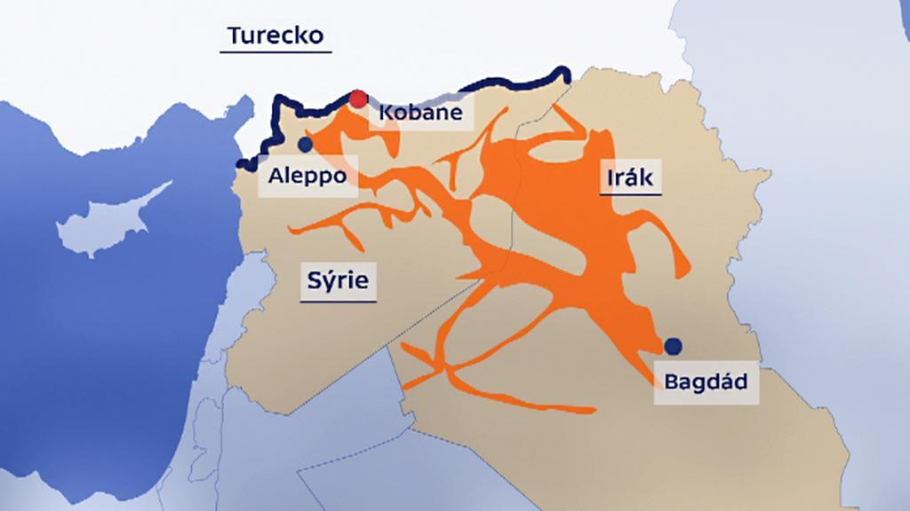 Místa obsazená Islámským státem v Iráku a v Sýrii
