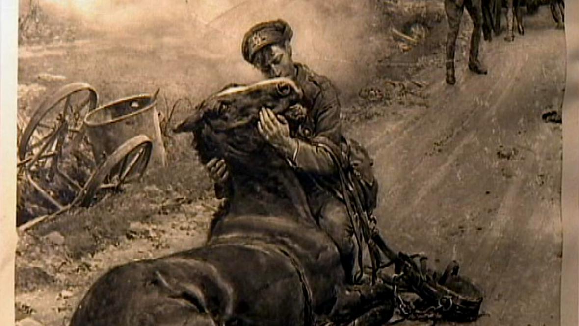 Voják s umírajícím koněm na výstavě v domě Woodrowa Wilsona