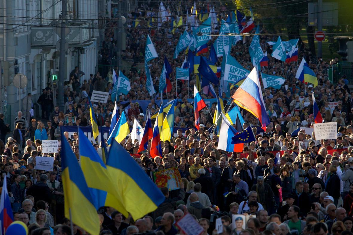 Moskevská demonstrace proti ruské účasti v ukrajinském konfliktu