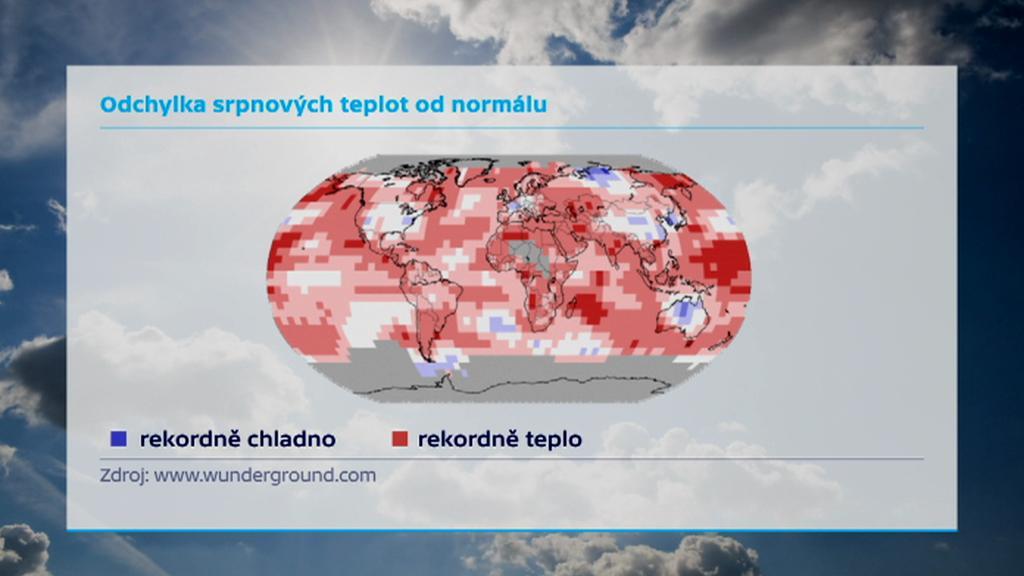 Odchylka srpnových teplot od normálu