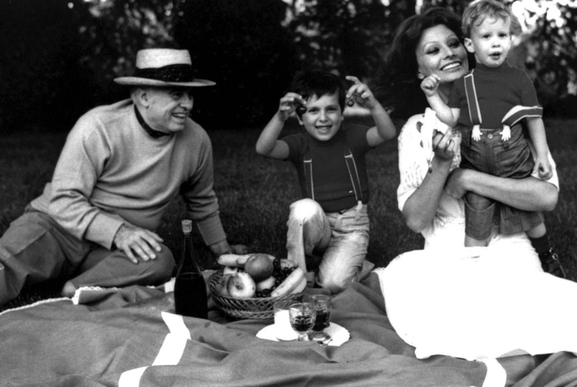 Sophia Lorenová s rodinou