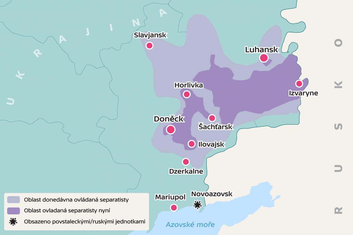 Mapa území ovládaných separatisty