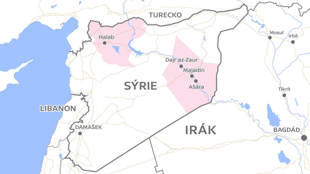 Sýrie s vyznačenou oblastí Dajr az-Zaur