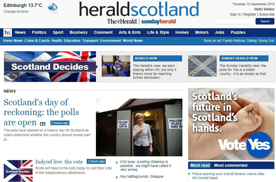 Skotská média o referendu