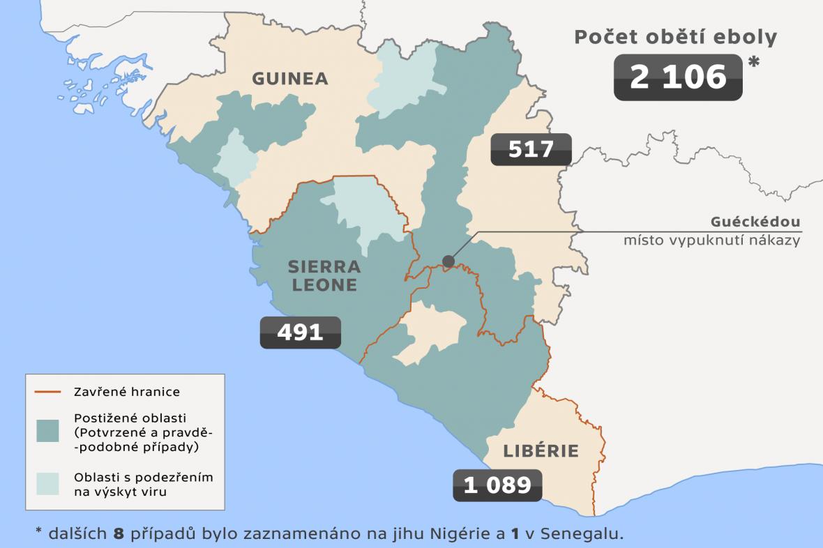 Mapa šíření eboly