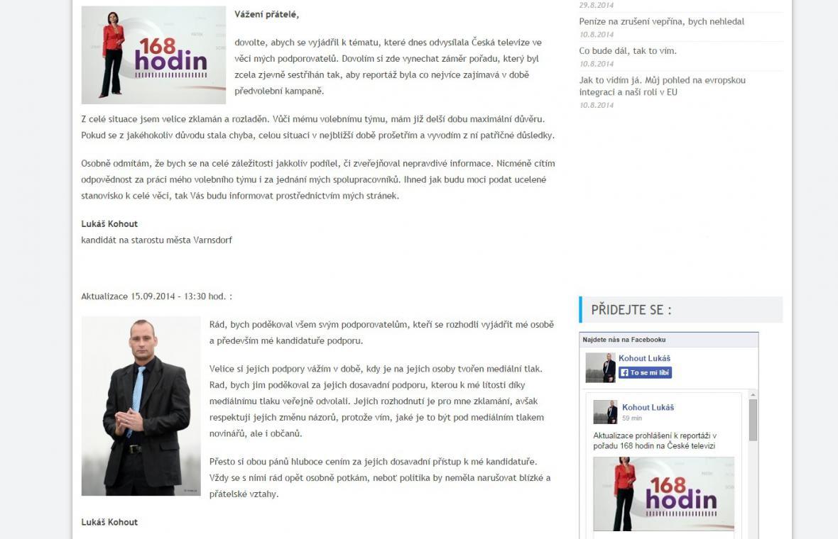 Reakce Lukáše Kohouta na odvysílanou reportáž v pořadu ČT 168 hodin