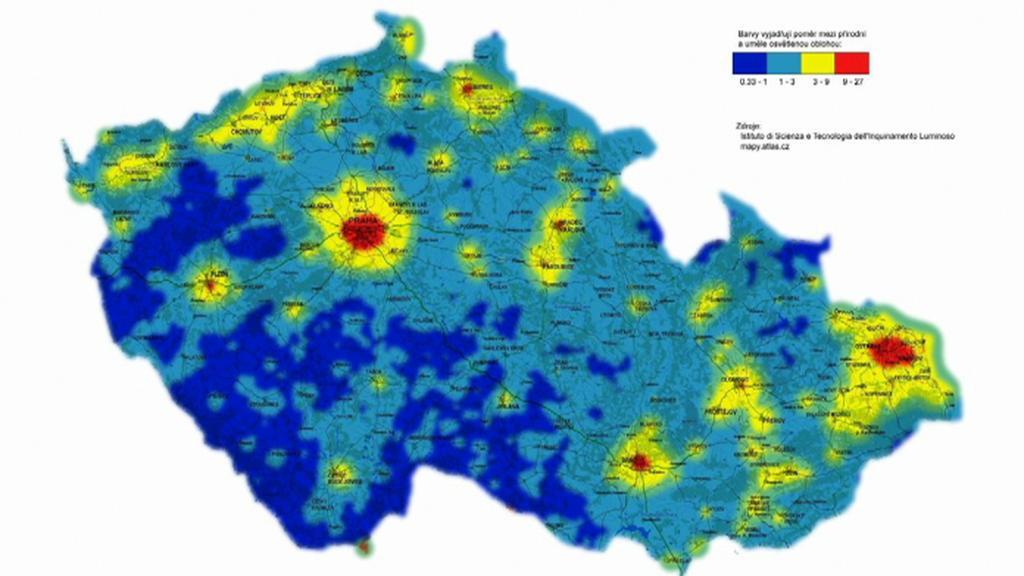 Mapa světelného znečištění na území České republiky