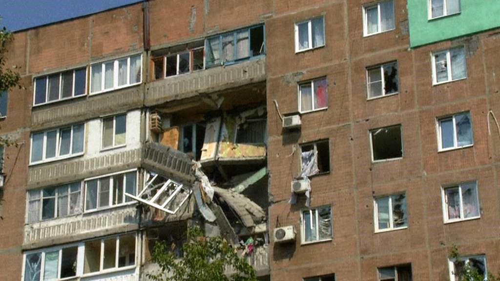 Zničený dům v Doněcku