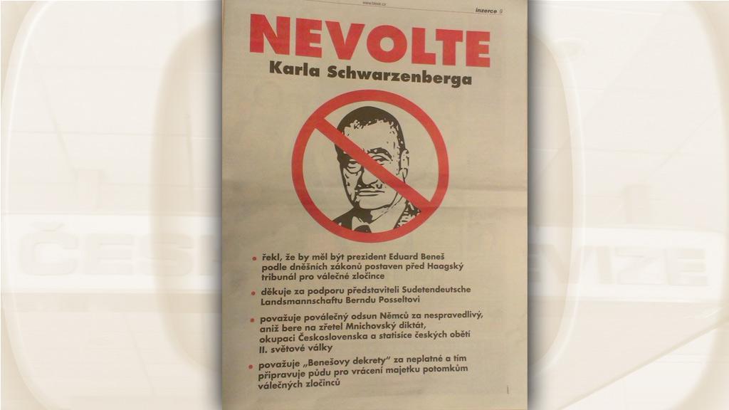 Inzerát v novinách proti Karlovi Schwarzenbergovi
