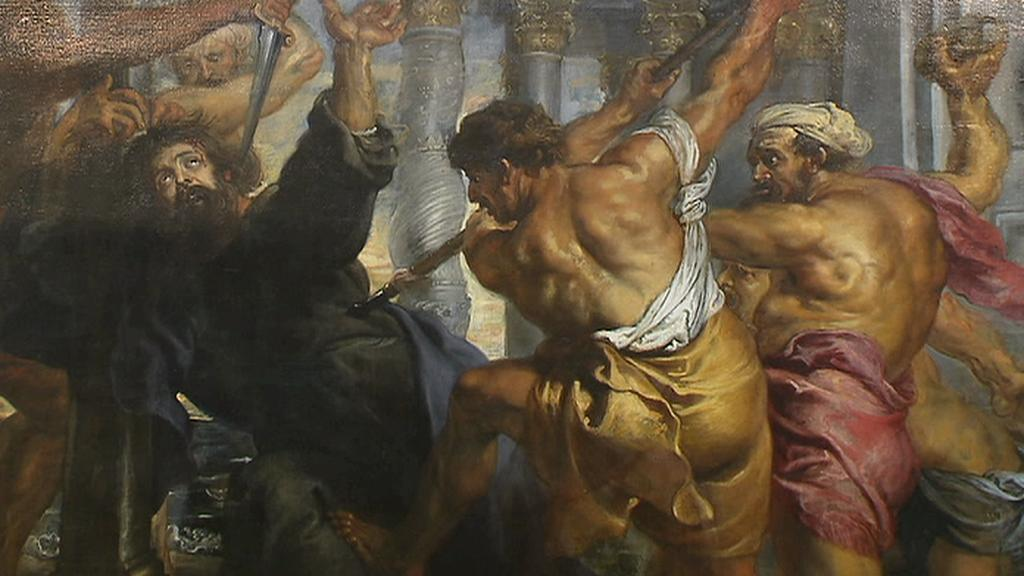 Výjev z obrazu Umučení sv. Tomáše