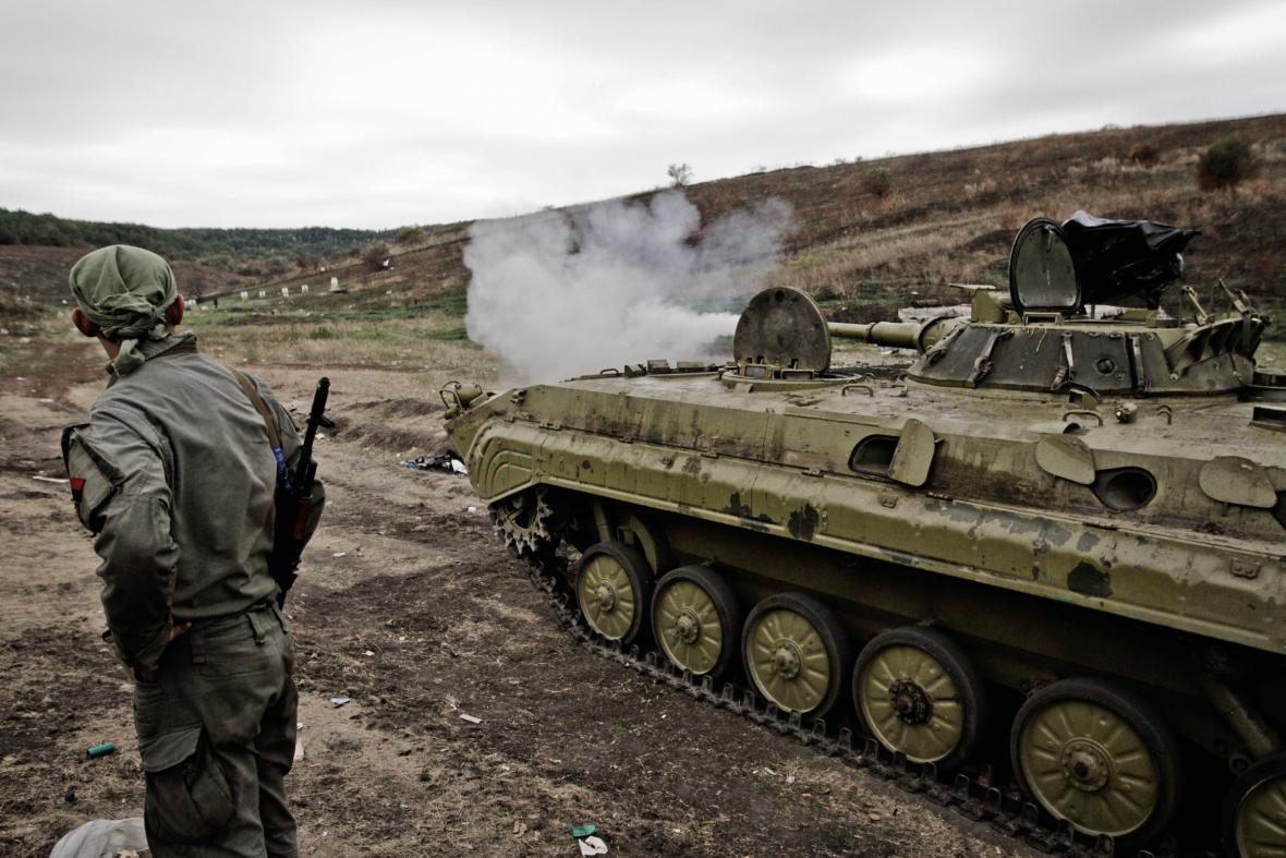 Příslušníci ukrajinských milicí z praporu Ajdar