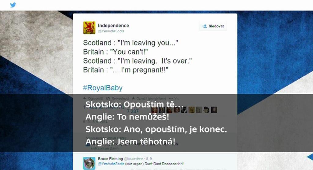 Vtipkování na Twitteru ke skotskému referendu