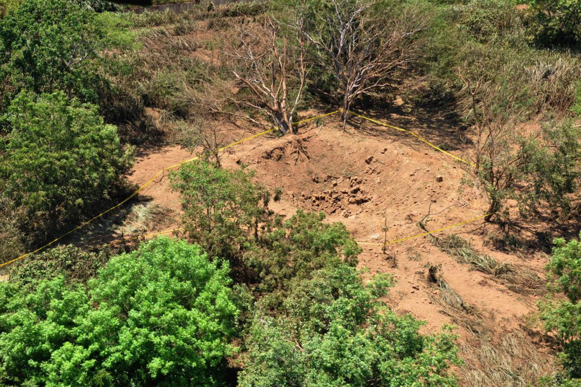 Kráter po dopadu meteoritu v Nikaragui