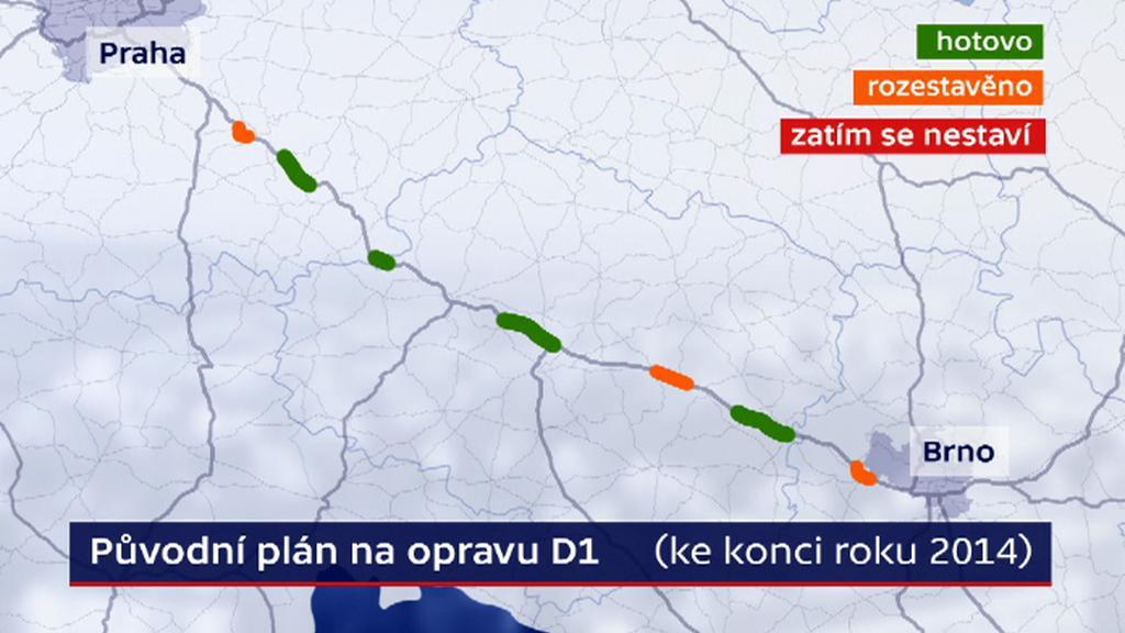 Původní plán opravy D1 ke konci roku 2014