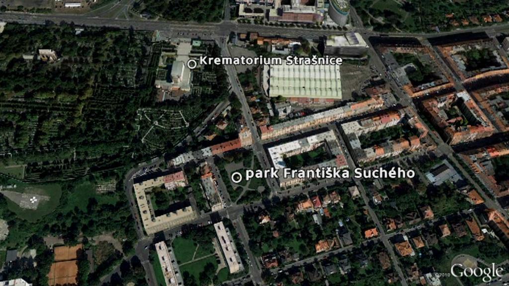 Park Františka Suchého vedle strašnického krematoria