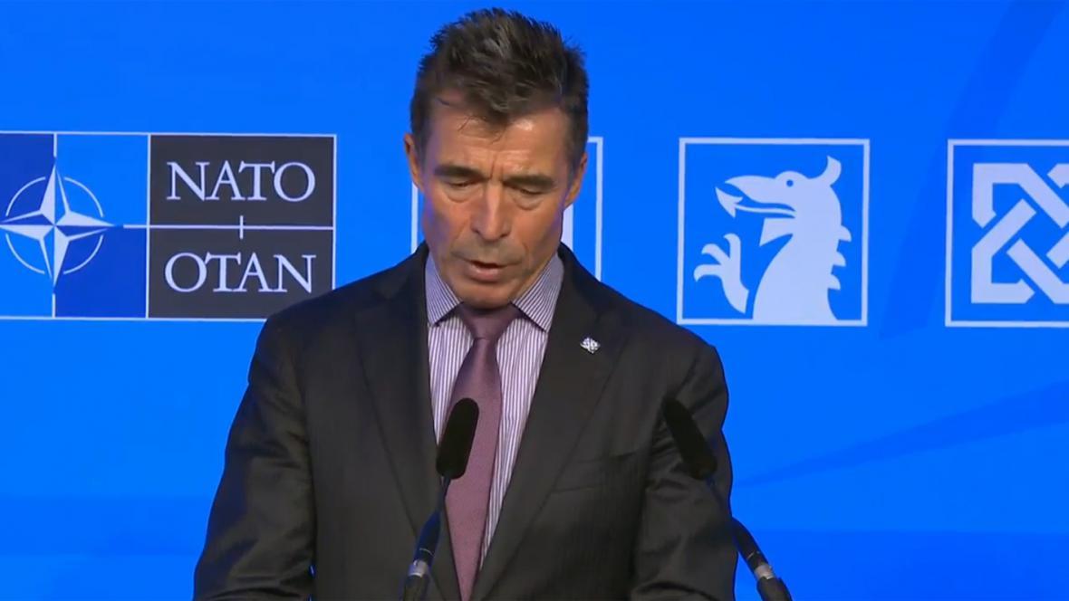 Anders Fogh Rasmussen na brífinku po summitu NATO