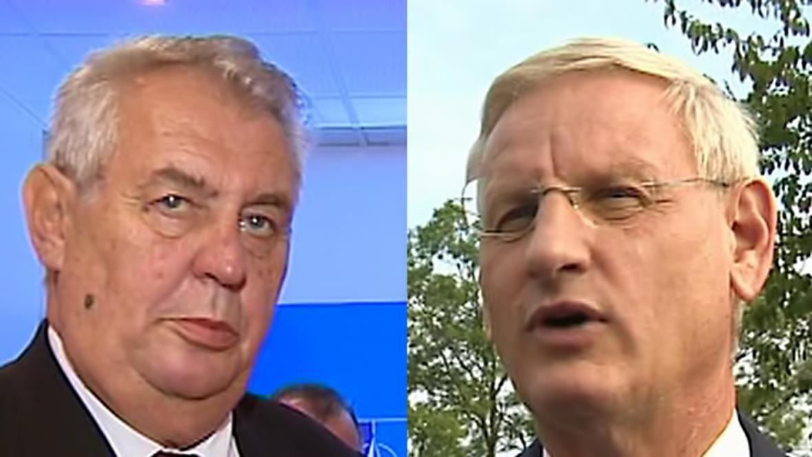 Miloš Zeman a Carl Bildt na summitu NATO