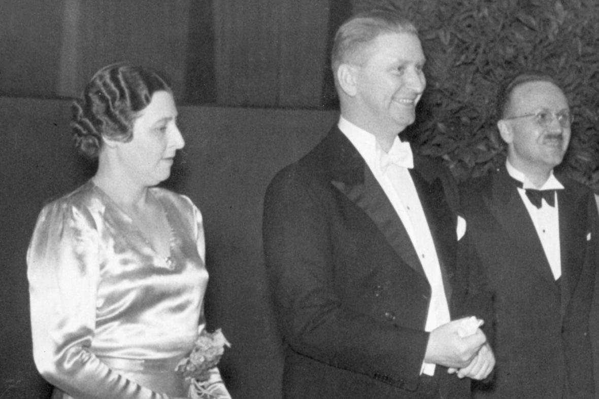 Jan Antonín Baťa s manželkou ve Zlíně v roce 1938