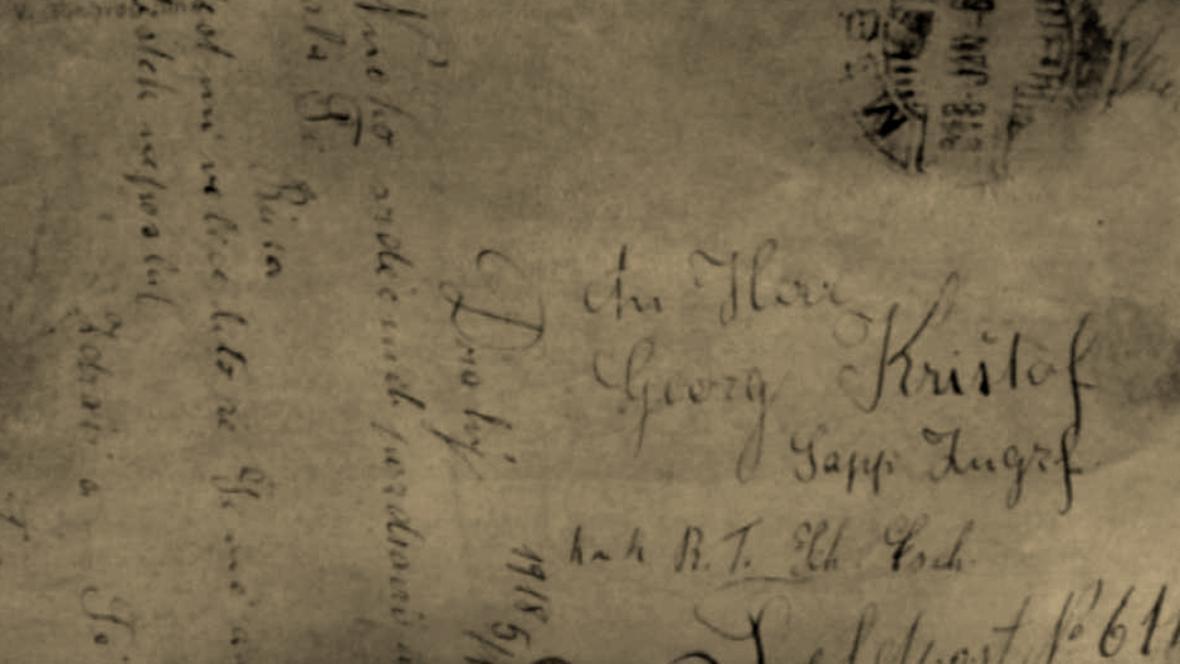 Česky psaný dopis v muzeu v Punta Linke