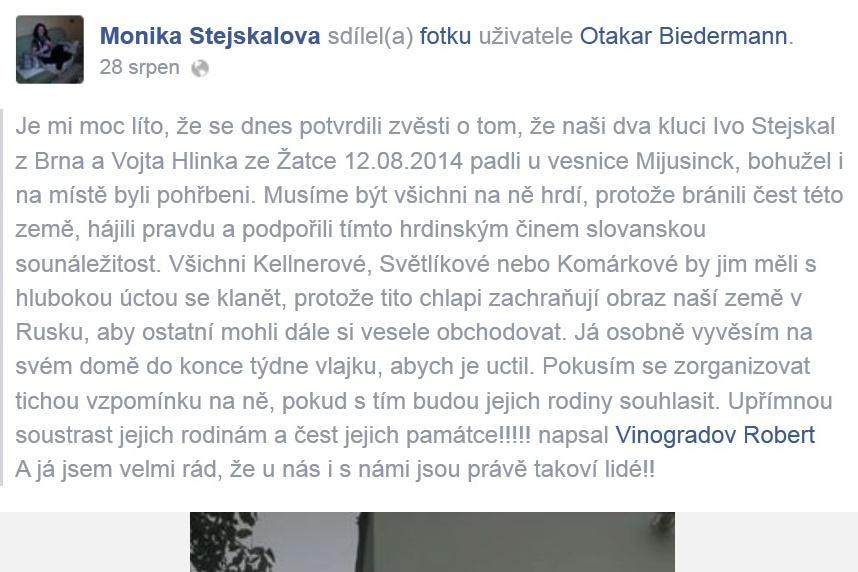 Informace o smrti dvou Čechů se objevily na Facebooku