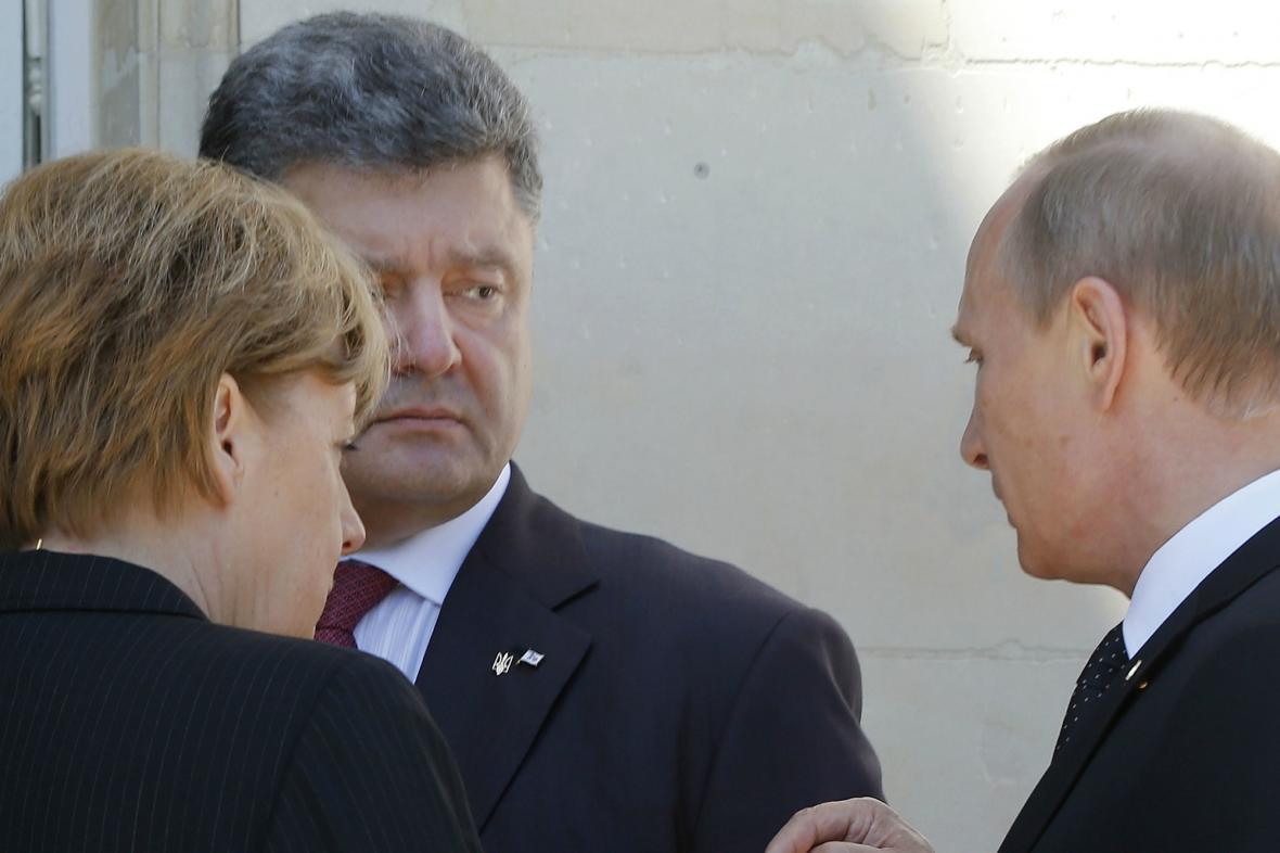Petro Porošenko s Vladimirem Putinem