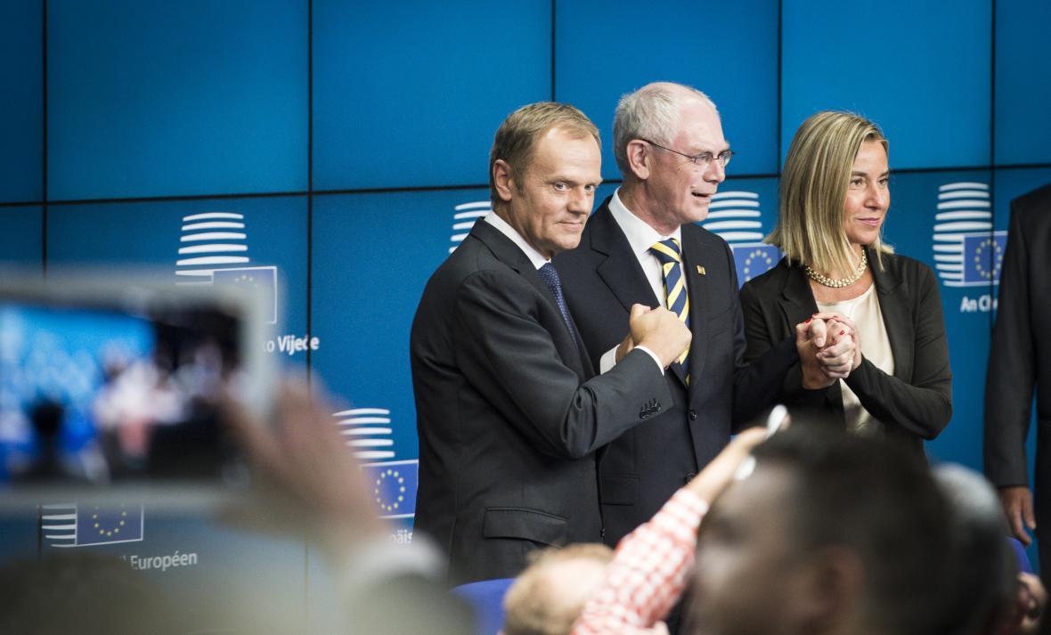 Donald Tusk, Herman Van Rompuy a Federica Mogherini
