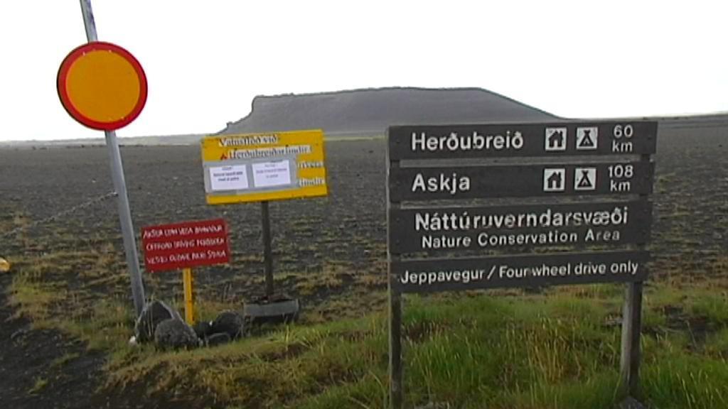 Uzavřené okolí sopky Bárdarbunga