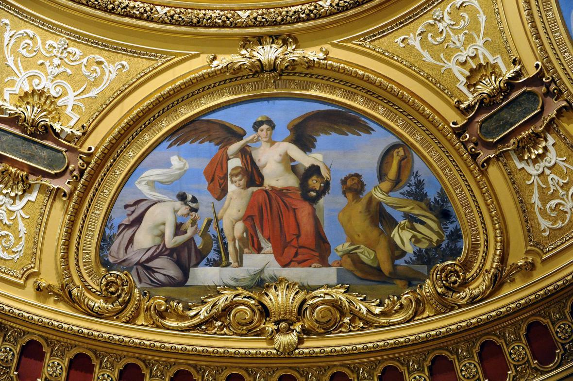 Jedna ze zrestaurovaných alegorií v Mahenově divadle