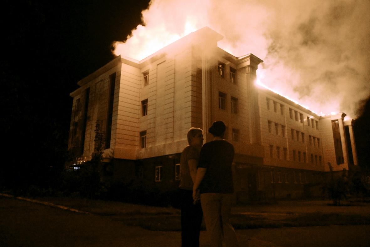 Hořící škola v Doněcku