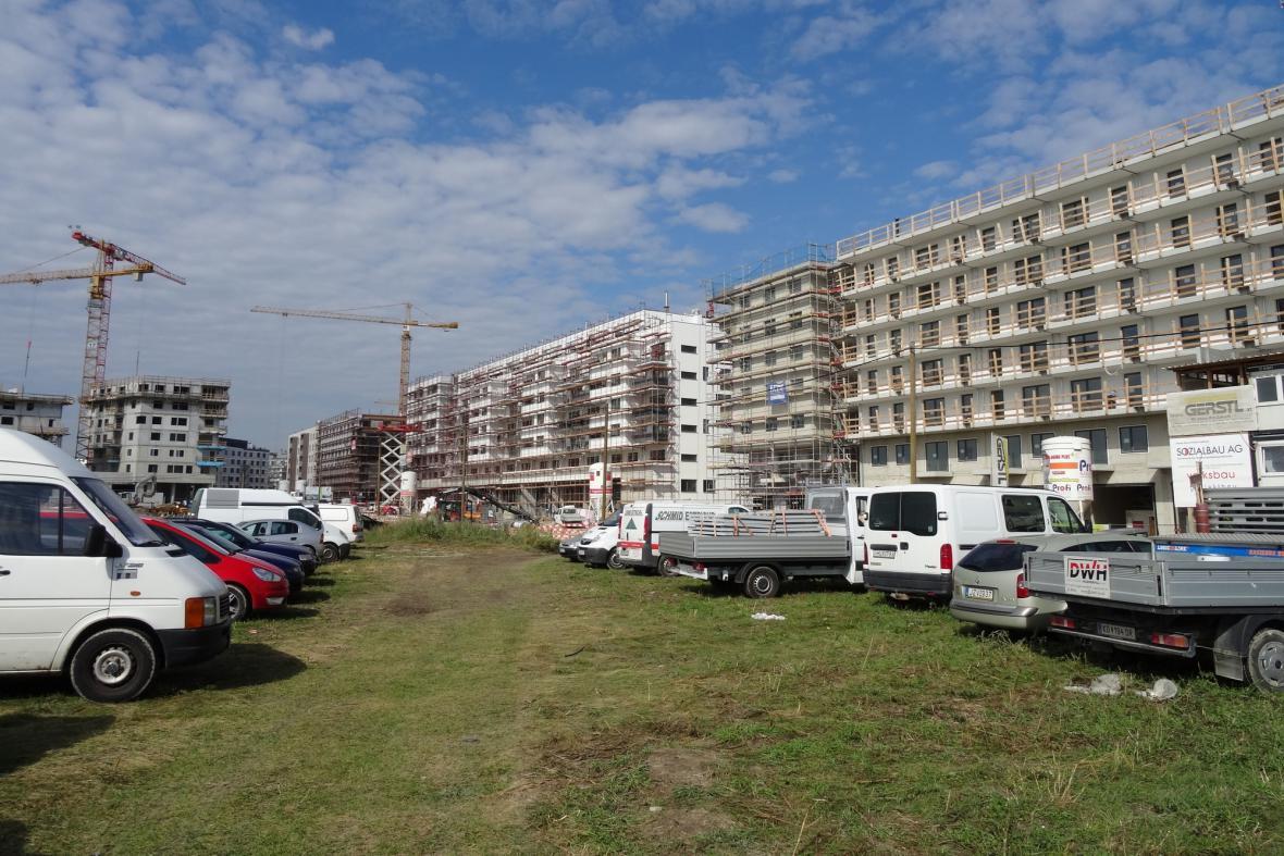 Výstavba Seestadt (Jezerního Města) u Aspern