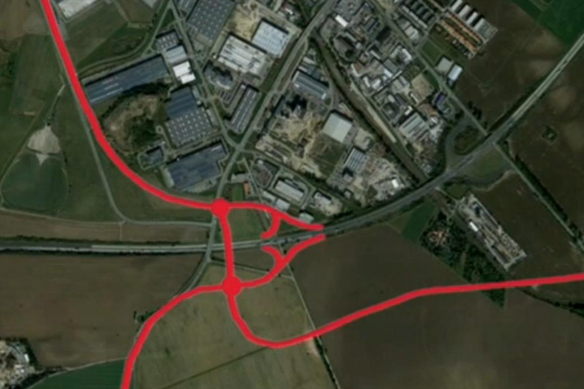 Plánovaný exit z D1 do průmyslové zóny