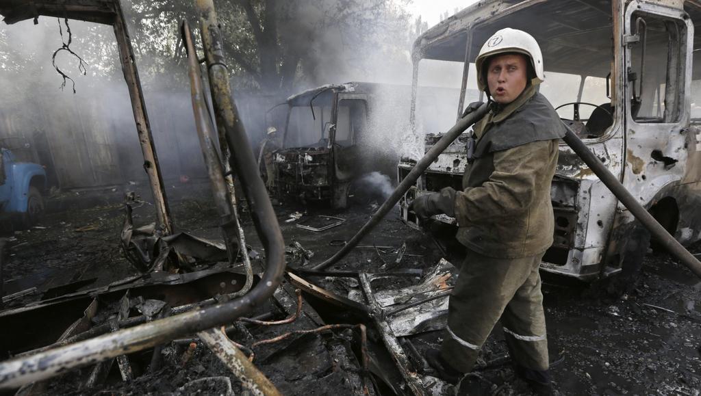 Uhašení požáru v Doněcku