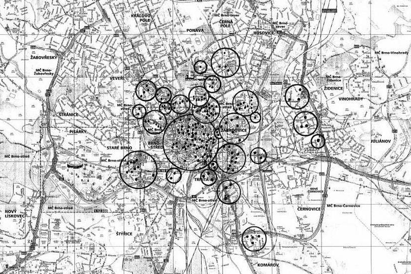 Mapa bomb, které byly shozeny na Brno během 2. světové války