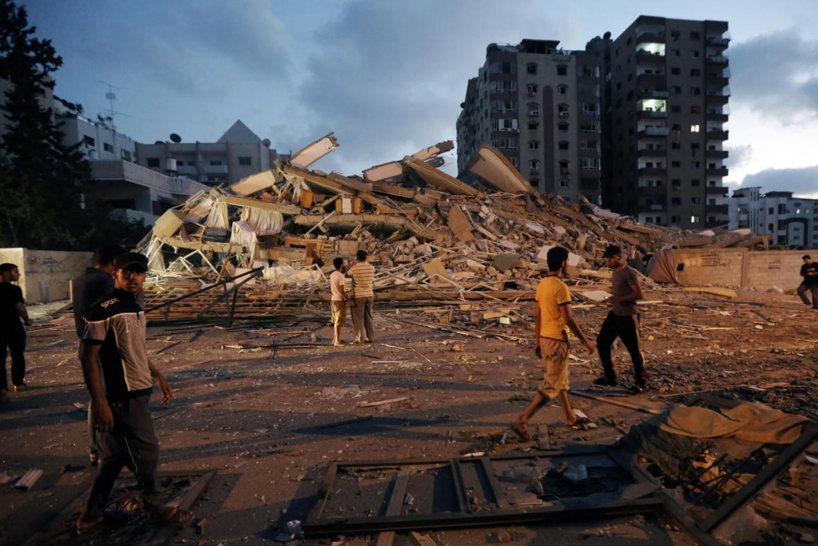 Následky izraelských náletů v Pásmu Gazy