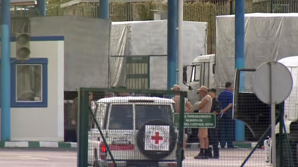 Ruský humanitární konvoj na ukrajinských hranicích