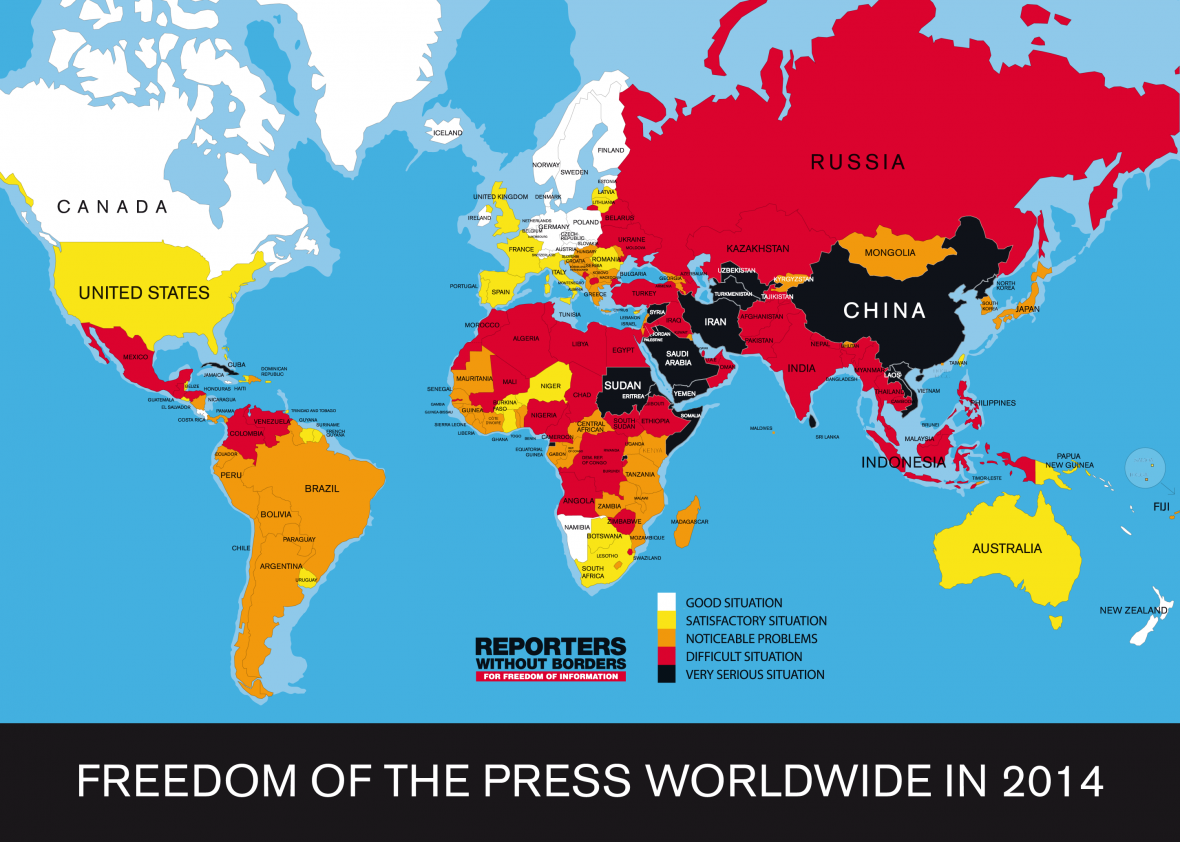 Mapa svobody tisku podle Reportérů bez hranic