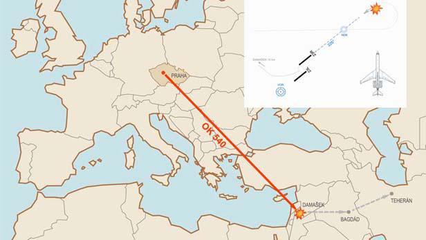 Mapa letu ČSA 540